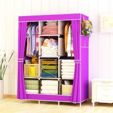 Furniture Murah Tempat Penyimpanan Baju tas Sprei Handuk Mainan Lemari Pakaian Cabinet Violet 3 Kolom