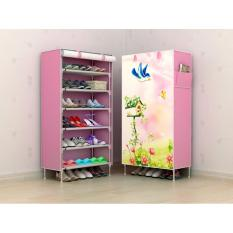 Furniture Murah Tempat Penyimpanan Sepatu Tas  Lemari Pakaian Cabinet Rak Sepatu Murah Motif Bird 6 Ruang