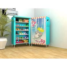 Furniture Murah Tempat Penyimpanan Sepatu Tas  Lemari Pakaian Cabinet Rak Sepatu Murah Motif Light Blue 6 Ruang