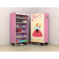 Furniture Murah Tempat Penyimpanan Sepatu Tas  Lemari Pakaian Cabinet Rak Sepatu Murah Motif Pink Love 6 Ruang