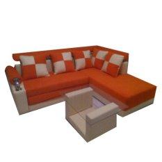 Furniture Unik L Elbow Sofa Bed Set - Orange