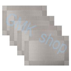 GAKTAI 4 Buah Isolasi Profesional Antilengket Crossweave Anyaman Gaya Vinil PVC Alas Piring Dicuci Meja Tikar/bantalan For Meja Makan, 44,96 Cm X 29,97 Cm (abu-abu Silver)