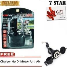 Gembok Kinbar Anti Maling Gembok Alarm RING PANJANG ORIGINAL 100% Suara Mantap  + Gratis Charger Hp Di Motor Anti Air
