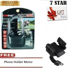 Gembok Kinbar Anti Maling Gembok Alarm RING PANJANG ORIGINAL 100% Suara Mantap  + Gratis Holder HP Universal Motor - Hitam