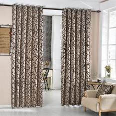 Harga Geometris Jacquard Modern Sederhana Desain Ruang Tamu Blind Dekorasi Rumah Tirai Jendela Brown Yang Murah