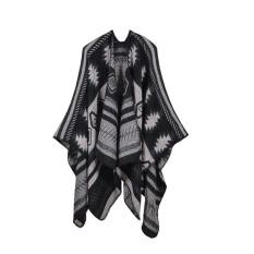Teka-teki Gambar Geometris Cape Eropa dan Amerika Serikat Dagang Sederhana Fashion Tebal Diperpanjang Hangat AC Selendang Selimut Perjalanan-Intl