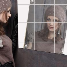 Harga Getek 16 Buah Cermin Persegi Ubin Dibetulkan 3D Stiker Mosaik Wall Stiker Perak Terbaru