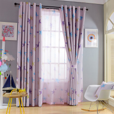 Review Toko Getek 1 Pcs Jendela Starfish Pola Shade Sun Isolasi Blackout Curtain 100 250 Cm Ungu