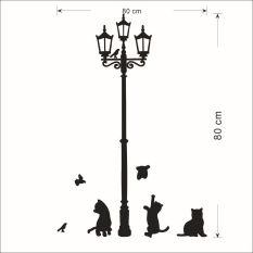 GETEK 80 Cm X 80 Cm Di Bawah Lampu Jalan LED Kucing Stiker Dinding (hitam)