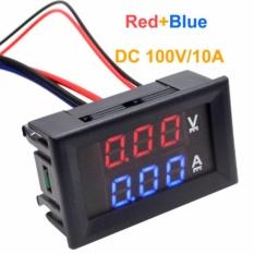 Jual Getek Dc 100 V 10 Voltmeter Ammeter Biru Merah Led Dual Digital Volt Amp Meter Gauge Tiongkok