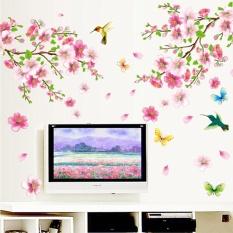 Gethome Peach Blossom Flower Bird Removable Wall Sticker TV Sofa Wall Decor Art - intl