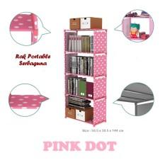 Diskon Produk Giyomi Rak Serbaguna 5 Susun Rak Portable 5 Susun Rak Buku Serbaguna Pink Polkadot