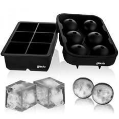 Glacio Es Cube Nampan Silikon Kombo Mold (Set dari 2), sphere Es Bola Maker dengan Tutup & Besar Persegi Cetakan, Dapat Digunakan Kembali dan Bpa Gratis-Internasional