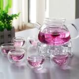 Beli Barang Glass Tea Set Teapot Teacup Flower Tea Suit 玻璃茶具茶壶茶杯花茶套装 Intl Online