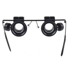 Kacamata tipe 20 x kaca pembesar dengan 2 x cahaya LED cocok untuk perbaikan elektronik (Hitam)