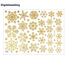 Berkilau Kepingan Salju Jendela Pintu Kaca Stiker Stiker Dinding Kamar Tidur Dekorasi Rumah-Internasional