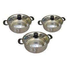 Beli Gloryshop Sauce Pot With Glass Lid Set 20 22 24 Murah