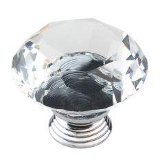 Goges 40mm Diameter Crystal Glass Diamond Bentuk Kabinet Knob Lemari Laci Tarik Pegangan, Clear And Silver