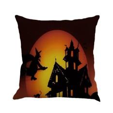 GOOD Halloween Night 3 Pumpkin Letter Printed Cushion Cover Linen Cotton Pillowcase Linen Color 2 - intl