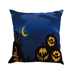 BAIK Malam Halloween 3 Labu Surat Dicetak Cushion Cover Katun Linen Sarung Bantal Linen Warna 4-Intl