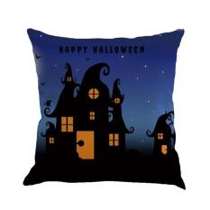 BAIK Malam Halloween 4 Labu Surat Dicetak Cushion Cover Katun Linen Sarung Bantal Linen Warna 3-Intl