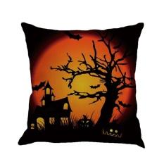 GOOD Halloween Night 4 Pumpkin Letter Printed Cushion Cover Linen Cotton Pillowcase Linen Color 4 - intl