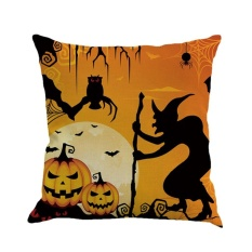 GOOD Halloween Pillowcase Cushion Cover Black Night Witch Pumpkin Bat Spider #2 - intl