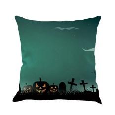GOOD Halloween Pillowcase Flax Pillowslip Decorative Pillow Case Dark Night Pumpkin #4 - intl