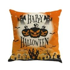 GOOD Happy Halloween Night Labu Dicetak Sarung Bantal Linen Katun Bantal Linen Warna 2-Intl