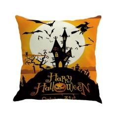 GOOD Happy Halloween Night Labu Dicetak Sarung Bantal Linen Katun Bantal Linen Warna 3-Intl