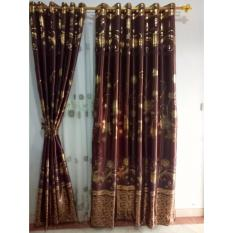 Beli Gorden Minimalis Blackout Printing Brown Combine Gordyn Tirai Curtains Murah