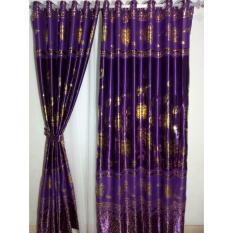 Jual Gorden Minimalis Blackout Printing Purple Combine Gordyn Tirai Curtains Grosir