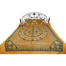 GPL/Batik Dicelup Bedsheet dari Pilkhuwa dengan Printed Mandala Gajah-Murni dengan Cuci Bantal- Warna Mediterranea Warna Biru/kapal dari AMERIKA SERIKAT-Intl
