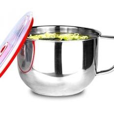 GPL/SimLife Stainless Steel Ramen Instan Sup Mie Salad Pasta Bowl dan Makanan Wadah Penyimpanan dengan Tutup dan Pegangan /kapal dari AMERIKA SERIKAT-Intl