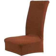 Warna Solid Stretch Yang Besar Removable Kursi Kursi Cover Protector Sarung untuk Pernikahan Perjamuan Rapat Perayaan Dinning Kamar Spandex Kopi- INTL