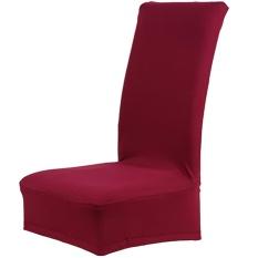 Warna Solid Stretch Yang Besar Removable Kursi Kursi Cover Protector Sarung untuk Pernikahan Perjamuan Rapat Perayaan Dinning Kamar Spandex Anggur- INTL