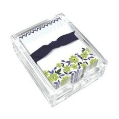Bunga Hijau dan Chevron Acrylic Desk CATATAN Set, Lembar Memo dan Pemegang Akrilik, 150 Catatan Makalah, 3.25X4.25