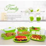 Beli Barang Green Leaf New Vienna Family Set Of 7 Wadah Saji Dengan Tutup 5 Sendok Sayur Free 4 Gelas Hijau Packaging Baru Full Color Online