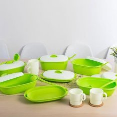 Jual Green Leaf Vienna Family Set Of 7 Wadah Saji Makanan Free 4 Gelas Hijau Green Leaf Online