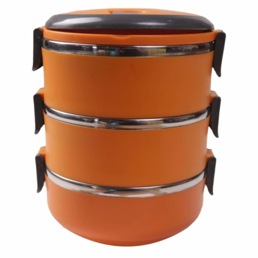 Grosir Station - Eco Lunch Box Stainless Steel Rantang 3 Susun - Orange