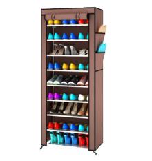Toko Grosir Station Rak Sepatu Portable 10 Susun Shoe Rack With Dust Cover Coklat Terlengkap