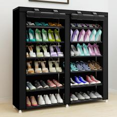 Grosir Station Shoe Rack 12 Layers with Dust Cover / Rak Sepatu - Black