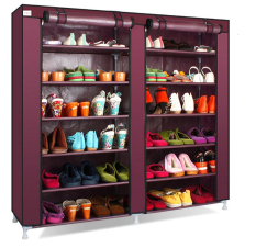 Grosir Station Shoe Rack 12 Layers with Dust Cover / Rak Sepatu - Claret