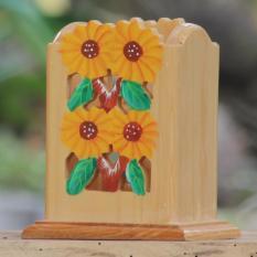 Spesifikasi Gs4 Woodcraft Tempat Sendok Dan Garpu Bunga Matahari Online