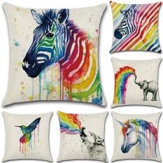 GZ New Set 6 Baru Living Rainbow Hewan Zebra Painting Throw Case Bantal Sofa Sarung Bantal Linen Katun 45 Cm * 45 Cm-Intl