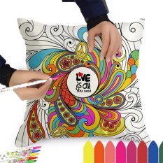 Hand-painted Pillow Case Cushion Cover DIY Graffiti with 12 Colors Pens For Home