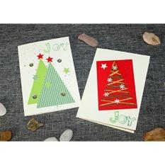 Buatan Tangan Kartu Natal Set 2 Kartu Liburan dengan Amplop Handmade Oleh Artisan 3D Kartu-Pohon Natal-Spread Joy Kartu Desain Unik 100% Buatan Tangan dari Kardus dan Senar. -Intl