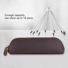 Handmade Kulit Asli Asli Yang Zipper Pen Pensil Case Penyimpanan Kosmetik Kapasitas Besar Tas-Intl