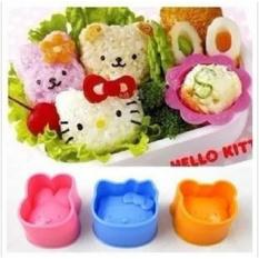 Hanifah Store - Cetakan Nasi / Rice Mold / Bento Tools 3 in 1 (1 set isi 3 : Hello Kitty + Bear + Bunny) - Blue