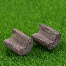 Hidup Bahagia 2 Pcs Terbaru Fashion Mini Kursi Sofa Fairy Garden Bench Model Rumah Boneka Dekorasi Coklat-Intl